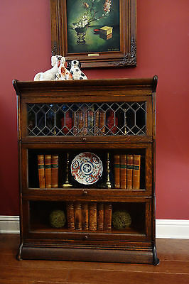 Antique English Tiger Oak Bookcase Stacking Barrister Leaded Glass Bookshelf