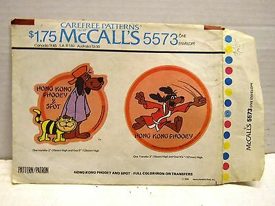 Vintage Hanna Barbera Hong Kong Phooey & Spot Iron On Transfers By Mc Calls 1976