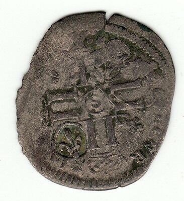 French Colonial 1690's S Recoined billon sol with 1640 lis c/m