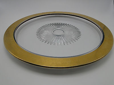 Old Embossed Gold Rim 13in Recessed Sunburst Center Clear Glass Plate Tray
