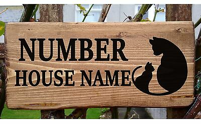 Cat House Name Sign Plate Plaque Personalised Wooden Wood Porch Conservatory