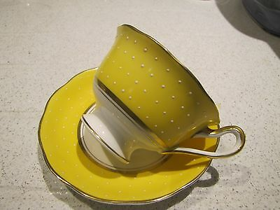 Grays Pottery~Yellow Sunbuff?~ Cup and Saucer Duo White Polka Dot