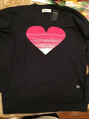 Abercrombie Girls Sweater Size 15/16 - NWT - Navy Blue Pink Heart