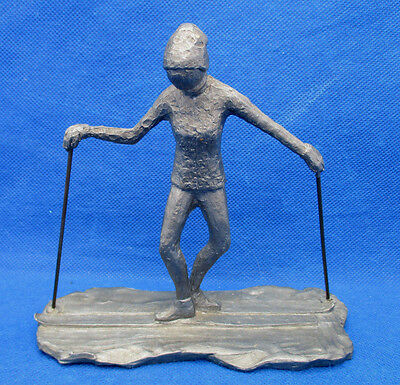 Fabulous Pewter Figurine Female Skier Turned Out Skis Ballet Look Paul 1974