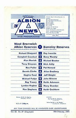 1966-1967 West Bromwich Albion Reserves v Barnsley