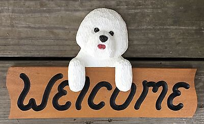 Bichon Frise dog Welsome Sign ~  signed Michael Park 1999 woodcarver