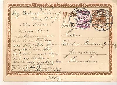 515 AUSTRIA Uprated BEETHOVEN stationery card to Sweden in 1927