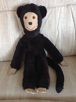 Vintage ? Handmade ? Monkey Chimp Soft Toy Dark Brown Approx 17 Inches Tall
