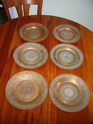 6 Old Large Middle Eastern/indian? Copper Plates - All Different Designs.