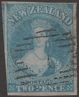New Zealand 1856 QV Chalon unwmk Imperf 2d Blue on blue paper Used SG5 cat £300