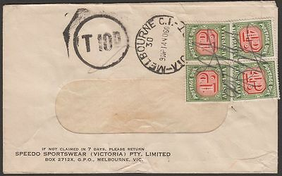 Australia 1960 Unstamped Cover Used with Postage Due 4d x2, 1d x2