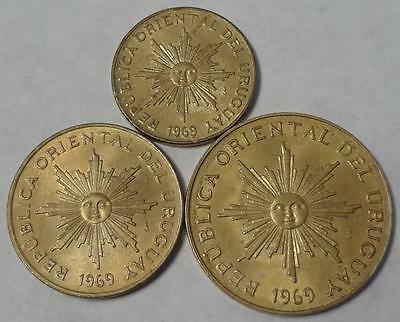 1969 Uruguay, 1-5-10 Pesos, 3 Coins, One Year Type, High Grade