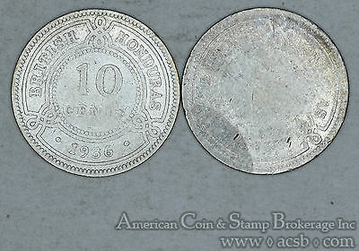 British Honduras 10 Cents 1894 1936 silver 2 Coin Lot Ultra Low Mintages
