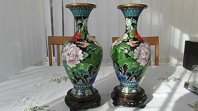A Lovely Pair Of Colourful Chinese Cloisonne Vases Complete With Stands