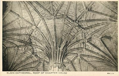 p0614 Chapter House roof, Elgin Cathedral, Moray postcard