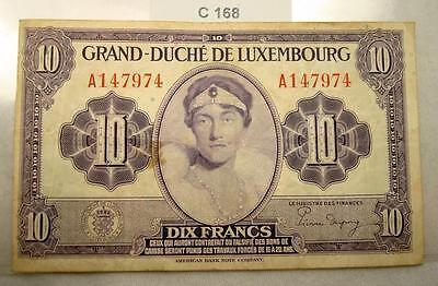 1944 Luxembourg 10 Francs Nd Wwii #c168