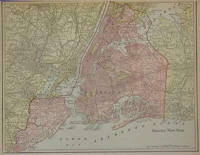 1899 Greater New York City Color Atlas Map  Manhatten, Brooklyn, Long Island Etc