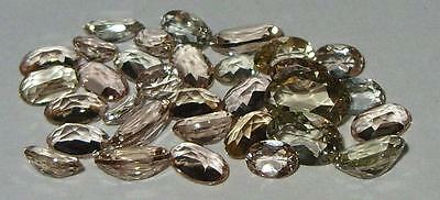 7.50ct LOT 32pc ASSORTED NATURAL BRAZIL MORGANITE & GOLD GREEN BERYL MIX SPECIAL