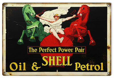 """Reproduction Shell Oil And Petrol Metal Sign 12""""x18"""""""