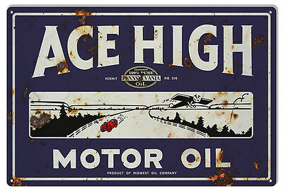 Reproduction Ace High Motor Oil Metal Sign 12X18