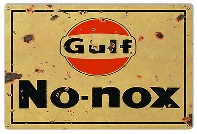 """Reproduction No Nox Gulf Motor Oil Gas Station Metal Sign 12"""" x 18"""""""