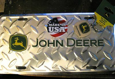 NEW John Deere Diamond Embossed License Plate & John Deere Chrome Key Holder