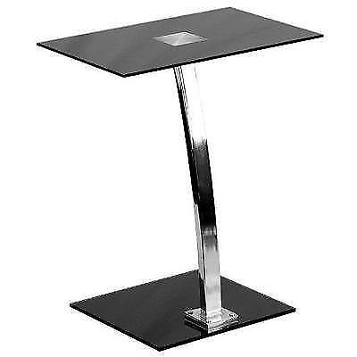 Laptop Computer Desk with Silk Black Tempered Glass Top New