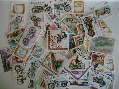 Motor Cycle Thematics  90+ Stamps A Colourful Mixture