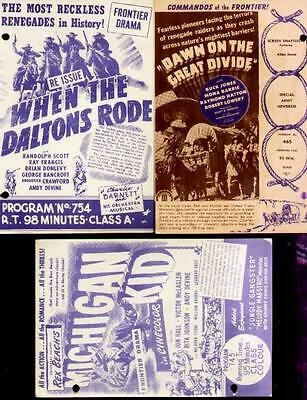 3 promo 1940's movie programs intended for Theatre Owners (3 Western films)