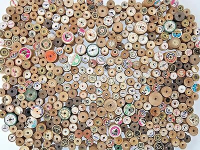 Vintage Mixed Lot of 400 Wood Wooden Thread Spools Antique Sewing Collectible