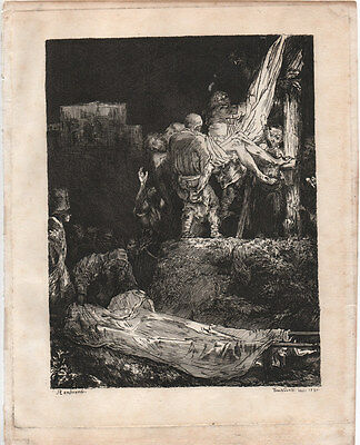 DESCENT FROM THE CROSS - REMBRANDT / NOVELLI - 18th CENTURY ETCHING c.1790