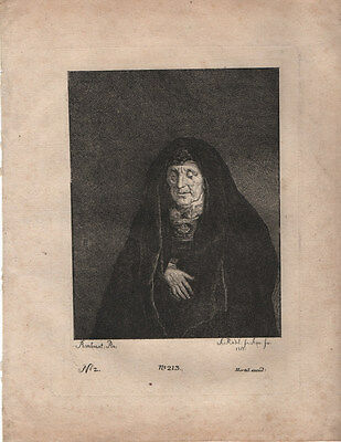OLD WOMAN - REMBRANDT / JOHANN RIEDEL - STUNNING 18th CENTURY ETCHING c.1755