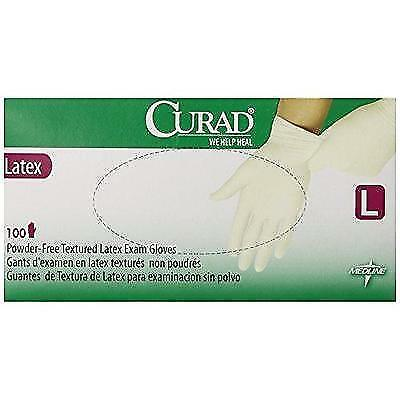 Curad Powder-Free Latex Exam Gloves, Large, 100 Count New