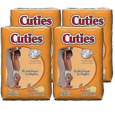 Cuties Baby Diapers, Size 6, 23-Count, Pack of 4 New