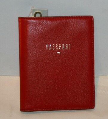 FOSSIL TRAVEL RFID Passport case holder wallet Red pebbled Leather $55