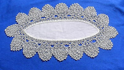Rare Antique Vintage Tatted Lace Oval Doily made with    One Shuttle B
