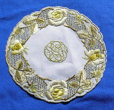 Rare Antique Silk Society Embroidered Lace Doily Coaster Yellow Roses