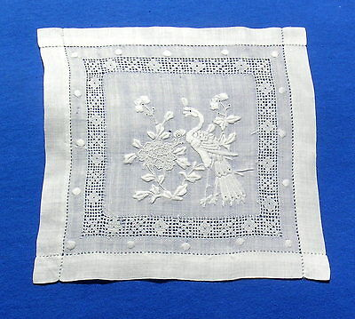 Antique Figural  Handmade Embroidered Drawnwork Lace Doily