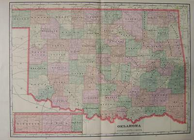 1908 Oklahoma Large 2-page Color Map** ....109 yrs old!