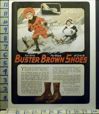 1920 Buster Brown Shoe Girl Boy Dog Sled Snow Winter Boot Vintage Art Ad  As25