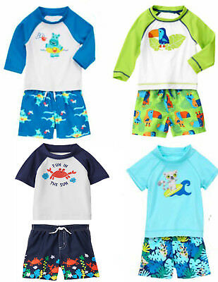 Gymboree  Boy 2 pc UPF 50+ Rashguard & Swim Trunks 0 3 12 18 24 2T NWT