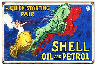 """Reproduction Quick Starting Pair Shell Motor Oil Metal Sign 12""""x18"""""""