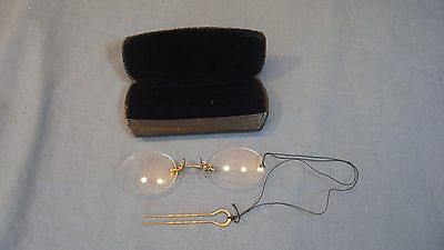Antique Pince Nez Pinch Nose Spectacles Glasses W/ Clip And Case Eyeglasses