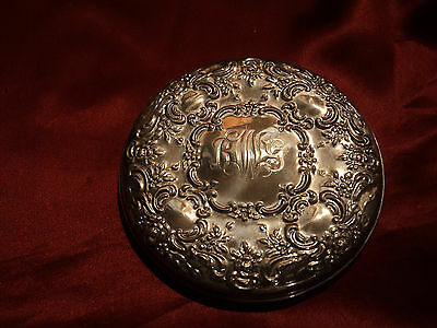 Vintage Sterling Silver Repousse Purse Mirror by Towle
