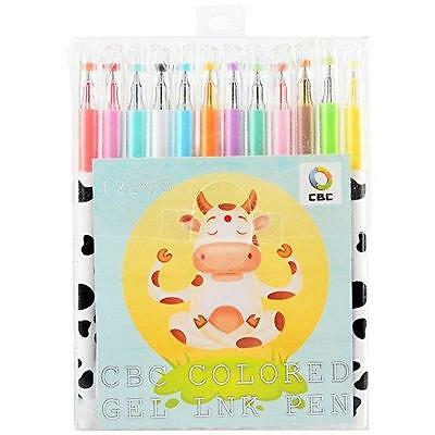 Pinkrise Officemate Milky Colored Gel Point Pen, Rollerball Pens,set of 12 New