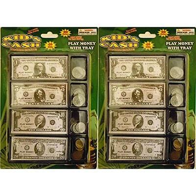Play Money Set W/bills & Coins In Tray (2 Pack) New