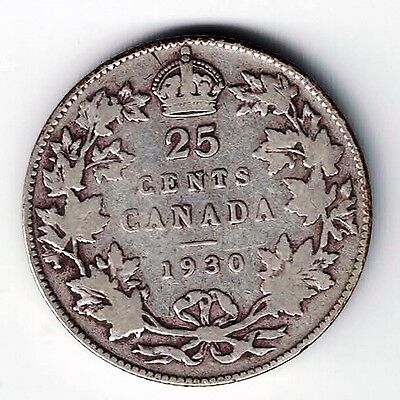 Canada 1930 25 Cents Quarter King George V .800 Silver Coin