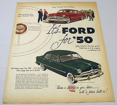 1950 Print Ad Ford Cars for '50 New Hushed Ride