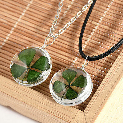 New Real Green Lucky Shamrock Four Leaf Clover Round Glass Pendant Necklace Gift