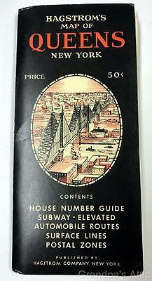 Hagstrom's Map ~ Queens New York ~ 1958 House # Subway, Elevated, Surface Lines